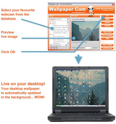 Wallpaper Cam screenshot: wallpapers,webcams,live,images,photography,desktop,background,fu
